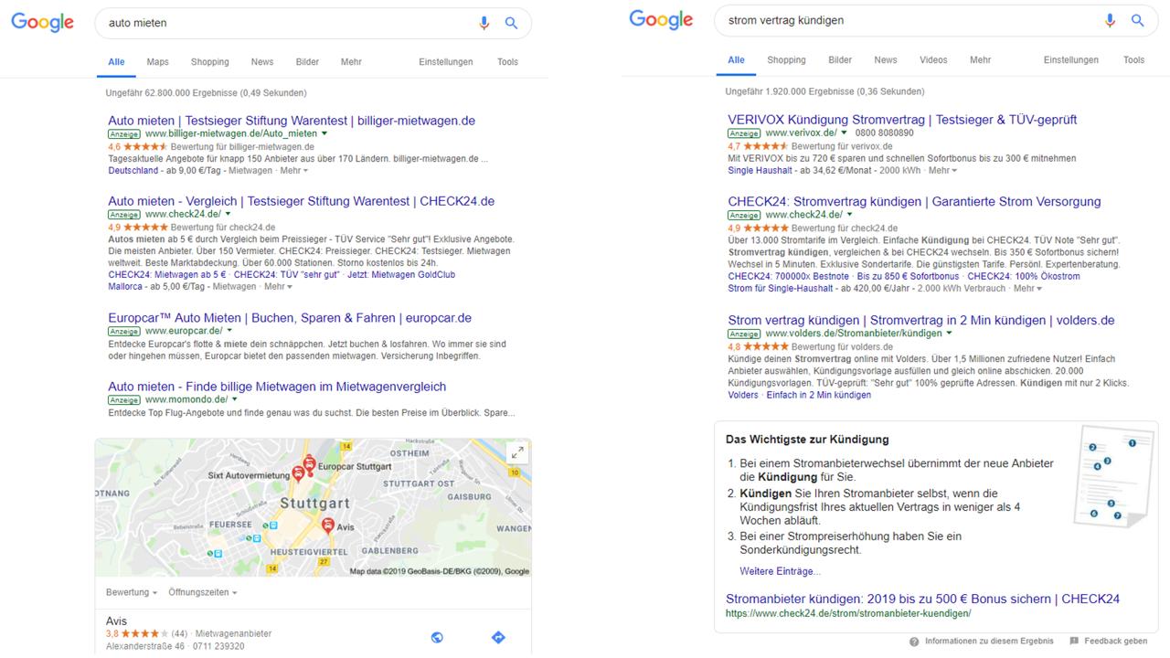 diese zwei screenshots der ergebnisseite von google zeigen deutlich dass organische ergebnisse seo teilweise gar nicht mehr auf den ersten blick sichtbar